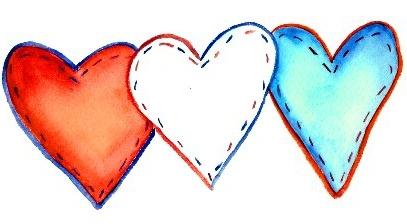 Hjerter i rødt hvitt og blått